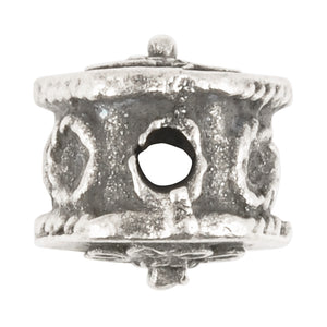 Casting-13mm Ornate Hexagon Drum-Antique Silver
