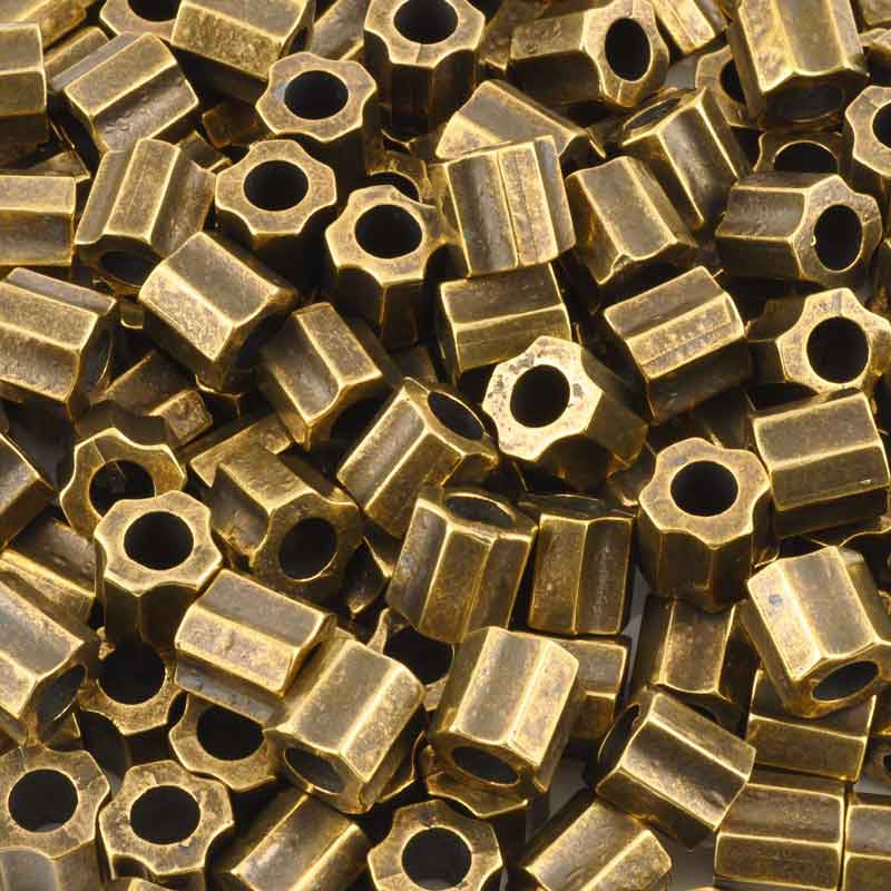 Casting-13mm Ridged Tube Bead-Antique Bronze