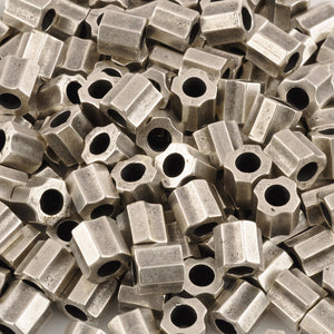 Casting-13mm Ridged Tube Bead-Antique Silver