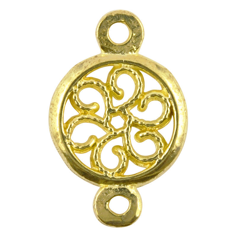 Casting-13x20mm Round Floral Connector-Brass