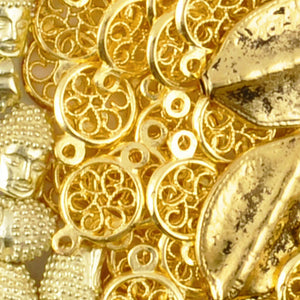 Casting-13x20mm Round Floral Connector-Gold