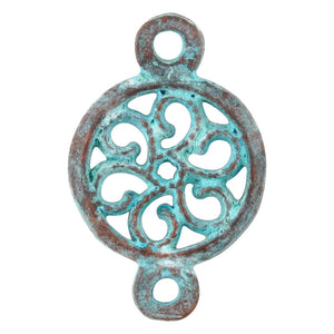Casting-13x20mm Round Floral Connector-Green Patina