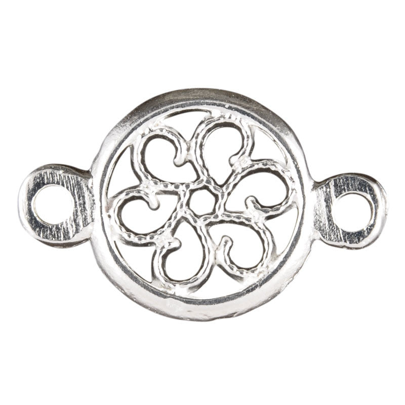 Casting-13x20mm Round Floral Connector-Silver