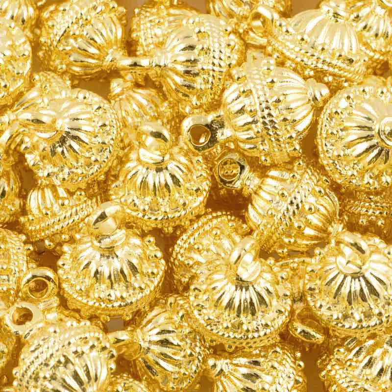 Casting-14x19mm Round Ornament-Gold