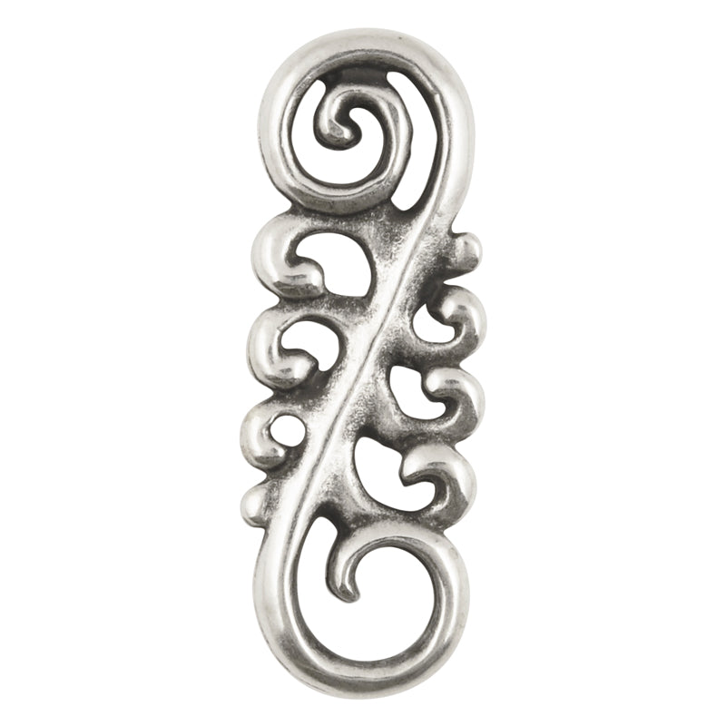 Casting-14x40mm Ornamental Swirl Connector-Antique Silver-Quantity 1