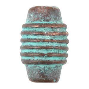 Casting-15x10mm Ridged Tube-Green Patina