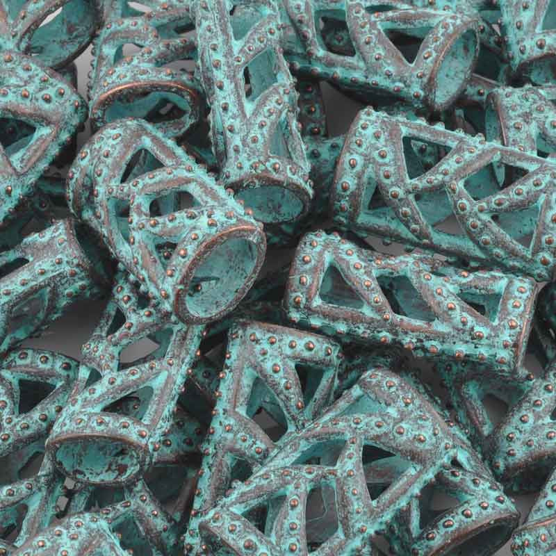 Casting-15x27mm Ornate Tube-Green Patina