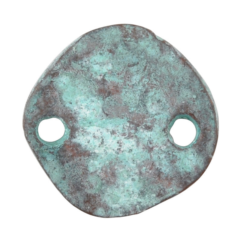 Casting-16mm Hammered Circle-Two Hole Connector-Green Patina