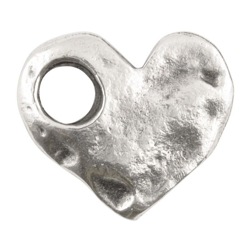 Casting-17x15mm Hammered Heart-Large Hole-Antique Silver
