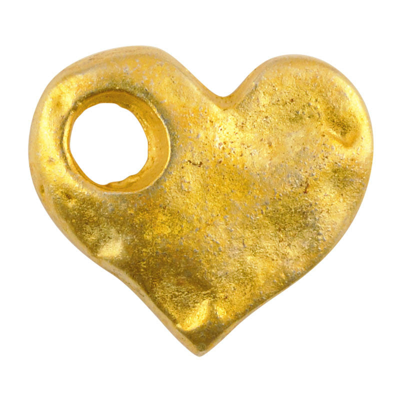 Casting-17x15mm Hammered Heart-Large Hole-Gold