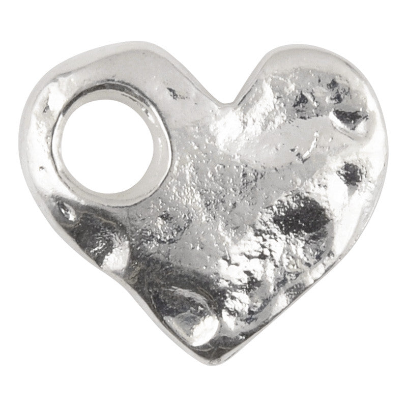 Casting-17x15mm Hammered Heart-Large Hole-Silver
