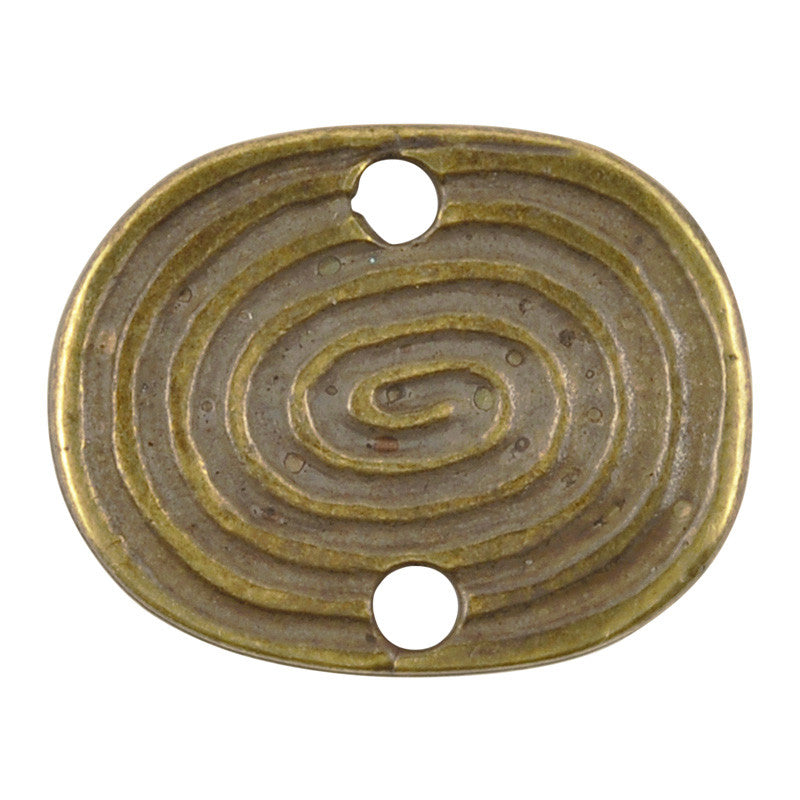 Casting-17x21mm Oval Spiral-Two Hole Connector-Antique Bronze