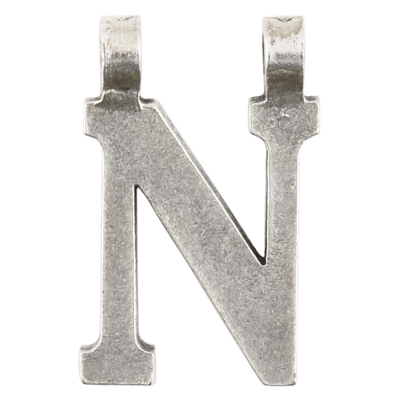 "Casting-17x28mm Letter ""N""-Antique Silver"