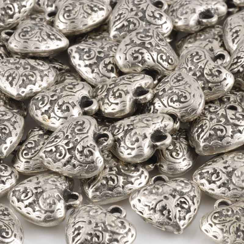 Casting-18x20mm Ornate Heart Charm-Antique Silver-Quantity 1