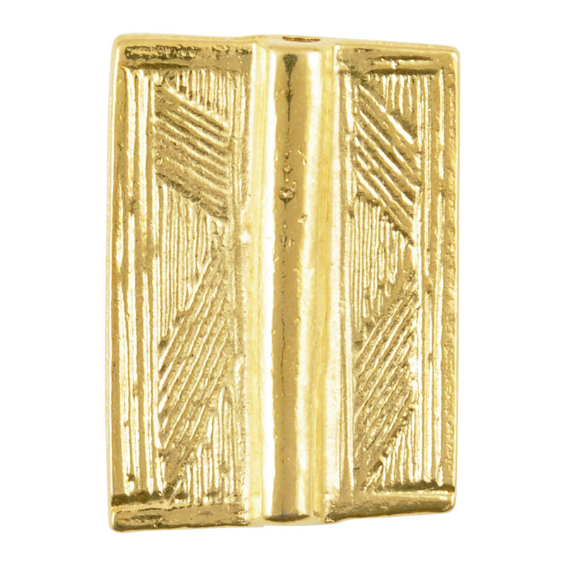 Casting-18x25mm Flat Rectangle Tube with Lines-Gold-Quantity 1