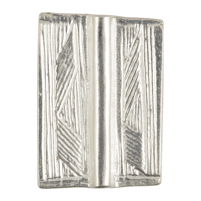 Casting-18x25mm Flat Rectangle Tube with Lines-Silver-Quantity 1