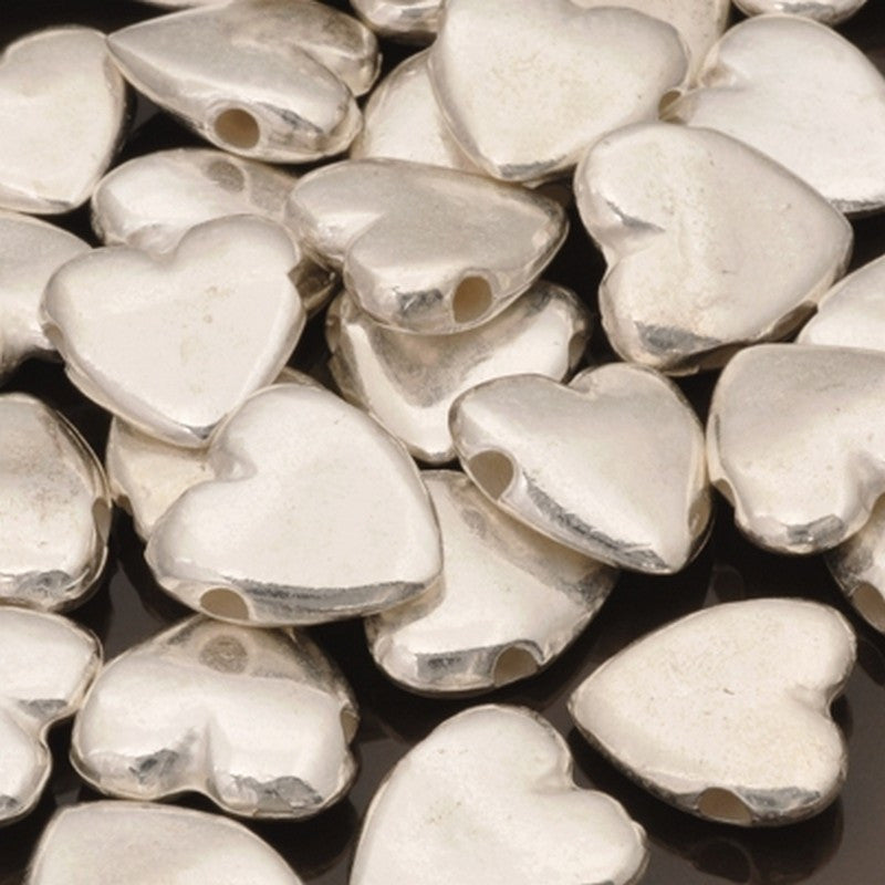 Casting-13mm Heart Bead-Pure Silver-Quantity 3