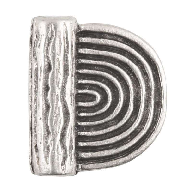 Casting-19x16mm Flat Round Half Spiral Tube-Antique Silver