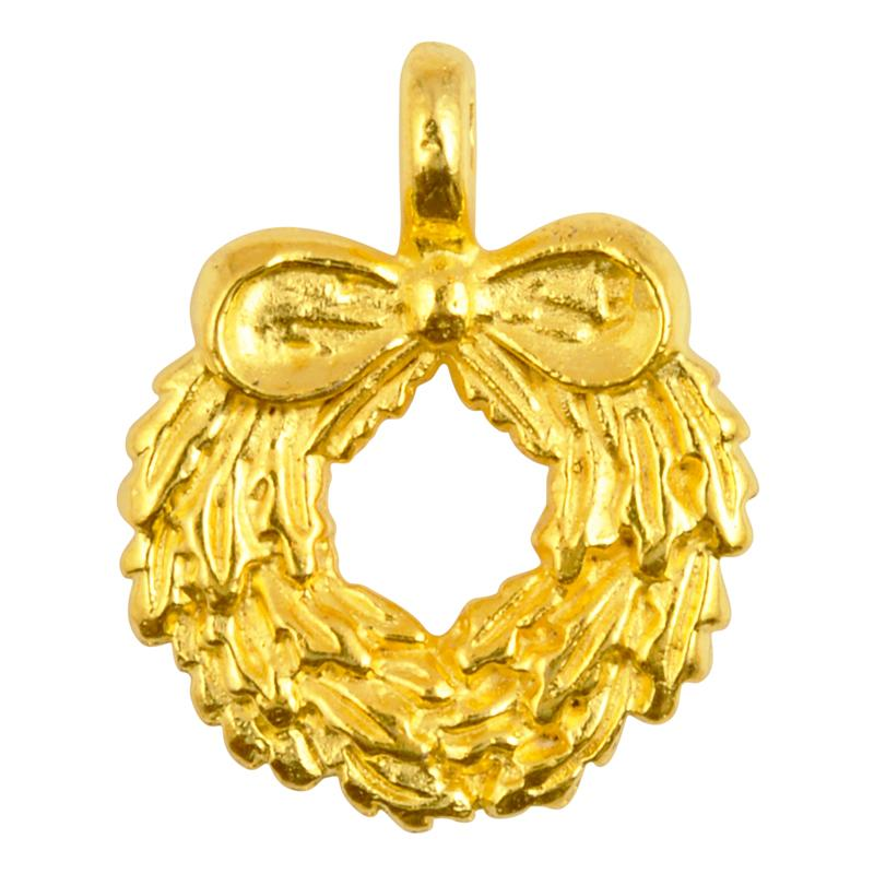 Casting-19x24mm Wreath With Bow-Gold-Quantity 1