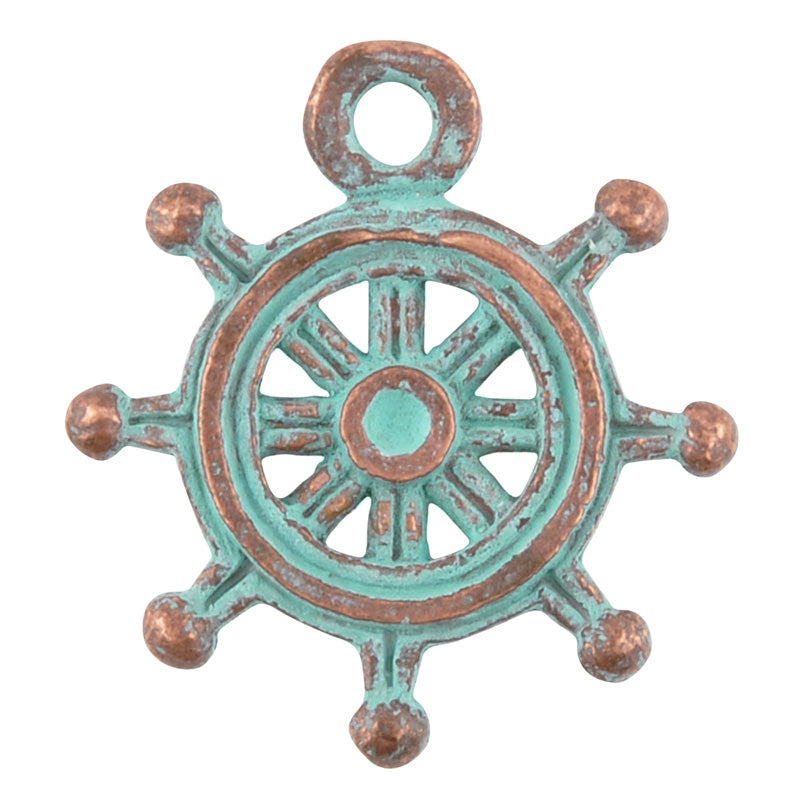Casting-20mm Nautical Wheel-Green Patina