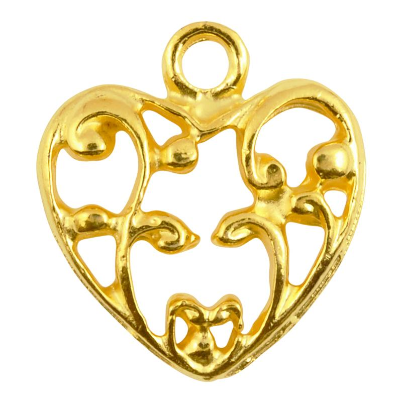 Casting-20mm Ornate Heart-Gold-Quantity 1