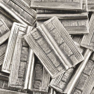 Casting-20x25mm Flat Rectangle Tube with Lines-Antique Silver