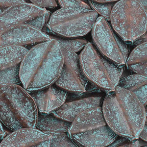 Casting-20x29mm Leaf Bead-Green Patina-Quantity 2