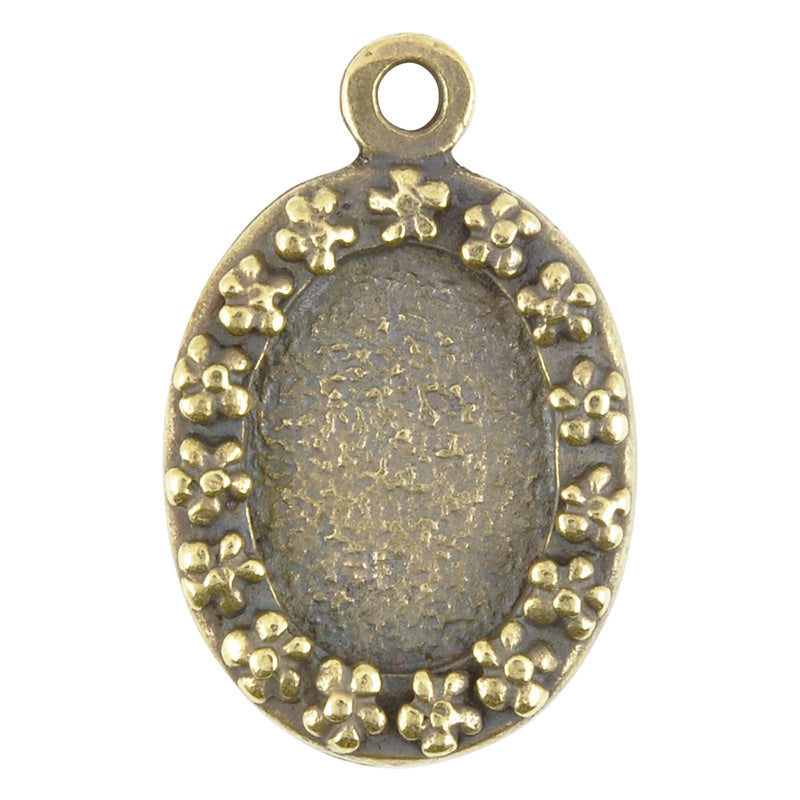 Castings-20x32mm Flower Border Bezel-Antique Bronze