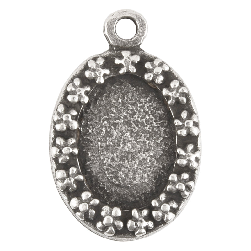 Castings-20x32mm Flower Border Bezel-Antique Silver