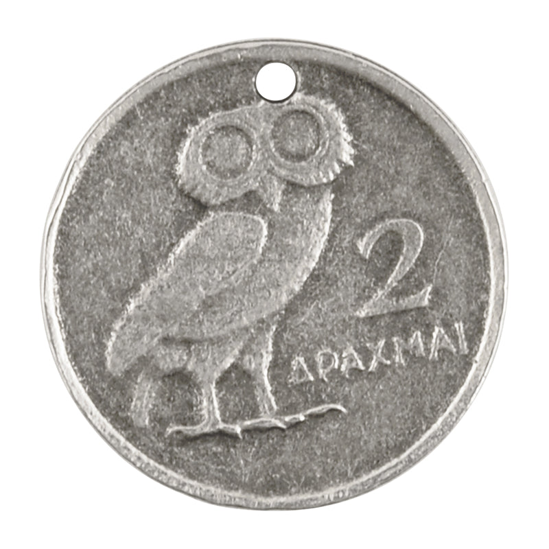 Casting-23mm Coin Pendant-Greek Athenian Owl-Antique Silver-Quantity 1