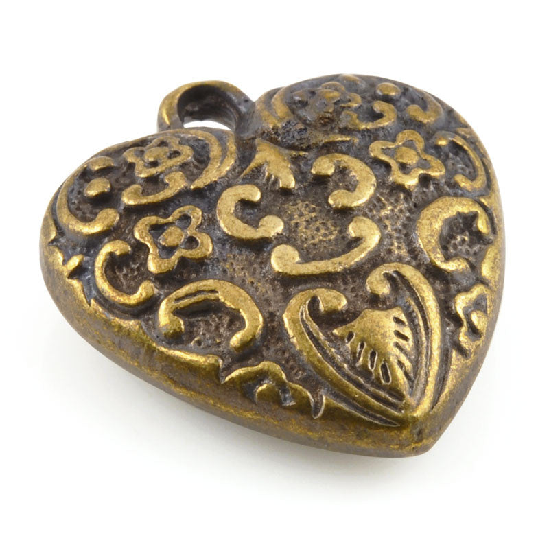 Casting-25x27mm Ornate Heart Pendant-Antique Bronze