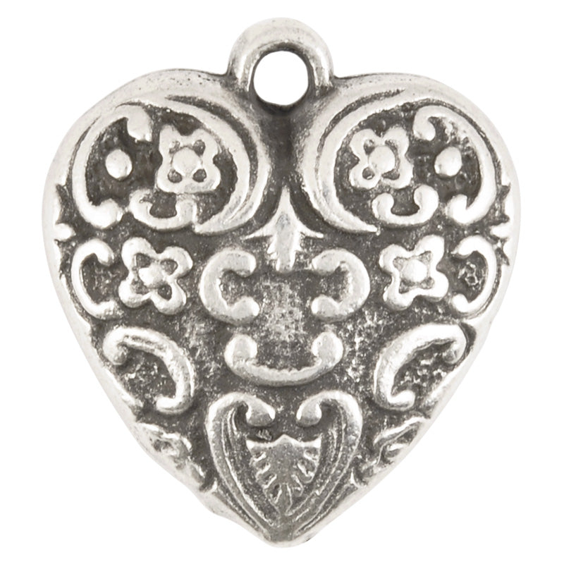 Casting-25x27mm Ornate Heart Charm-Antique Silver
