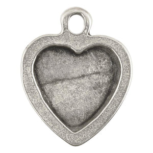 Casting Pendant-19x23mm Heart Style Locket Half-Antique Silver-Quantity 1