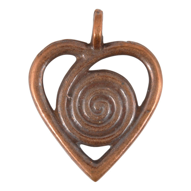 Casting-25x32mm Heart Swirl-Antique Copper