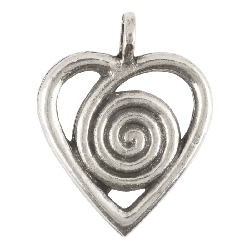 Casting-25x32mm Heart Swirl-Antique Silver