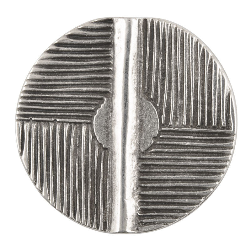 Casting-28mm Flat Round Patterned Tube-Antique Silver