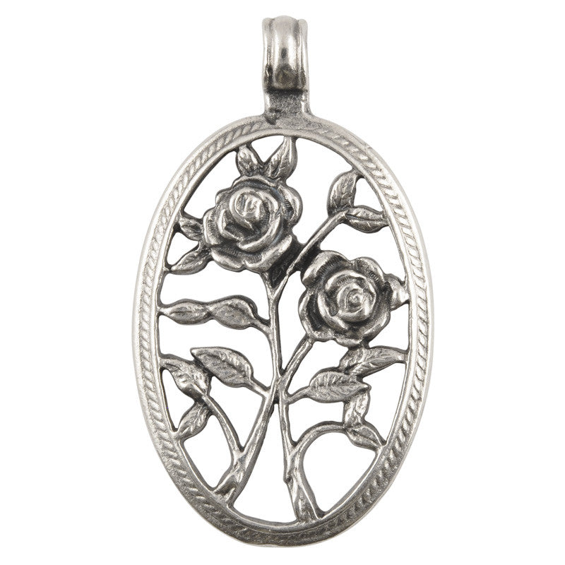 Casting-28x50mm Openwork Roses-Antique Silver
