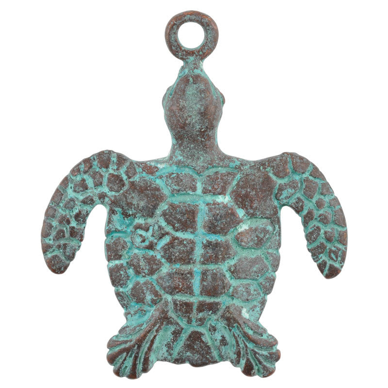 Casting-30x40mm Sea Turtle-Green Patina