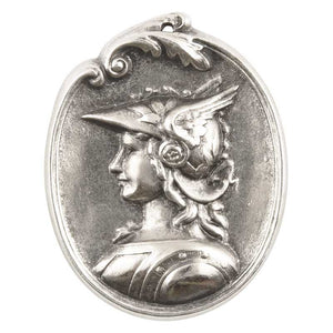 Casting-32x42mm Greek Goddess Cameo-Antique Silver