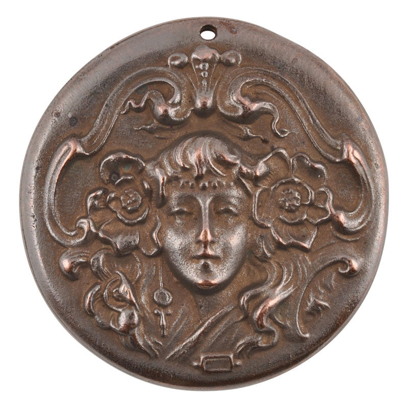 Casting-37mm Art Nouveau Woman-Antique Copper