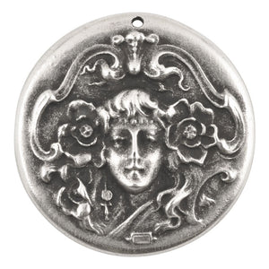 Casting-37mm Art Nouveau Woman-Antique Silver