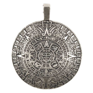 Casting-40x48mm Mayan Calendar-Antique Silver