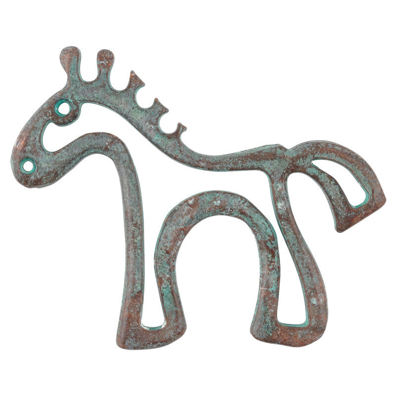 Casting-47x38mm Horse Drawing-Green Patina
