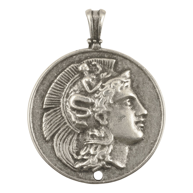 Casting-48x59mm Greek Coin Pendant-Antique Silver-Quantity 1