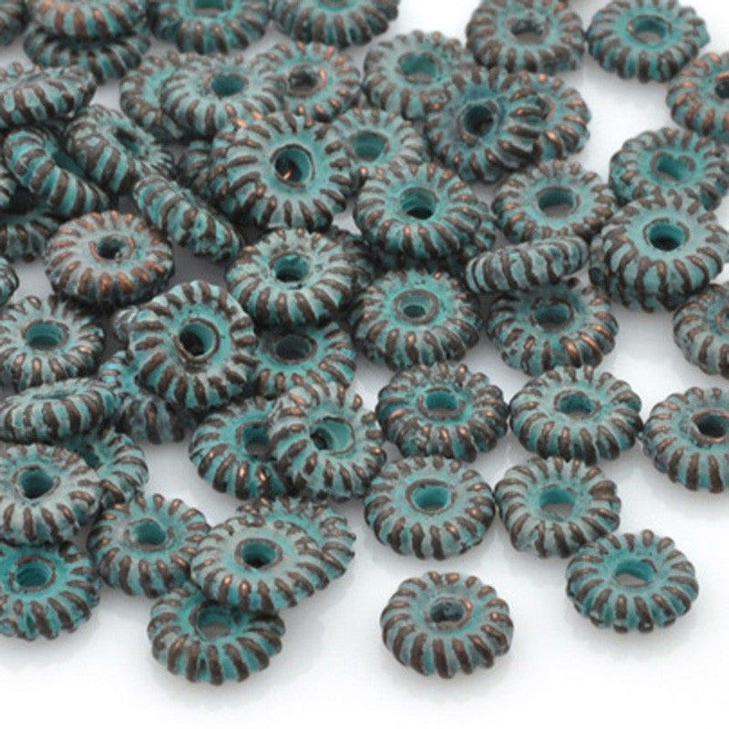Casting-Ridged Spacer-Green Patina