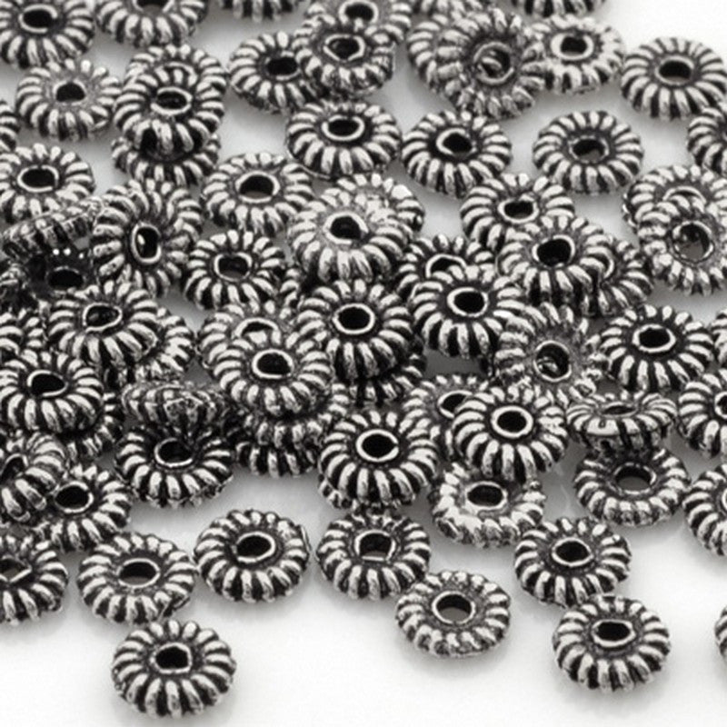 Casting-Ridged Spacer Bead-Antique Pewter