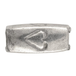 Casting-5x11mm Heart Tube-Antique Silver