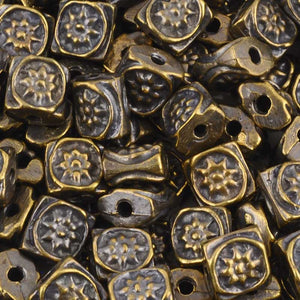Casting-6mm Flat Square Ornament Beads-Antique Bronze