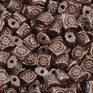 Casting-6mm Flat Square Ornament Beads-Antique Copper
