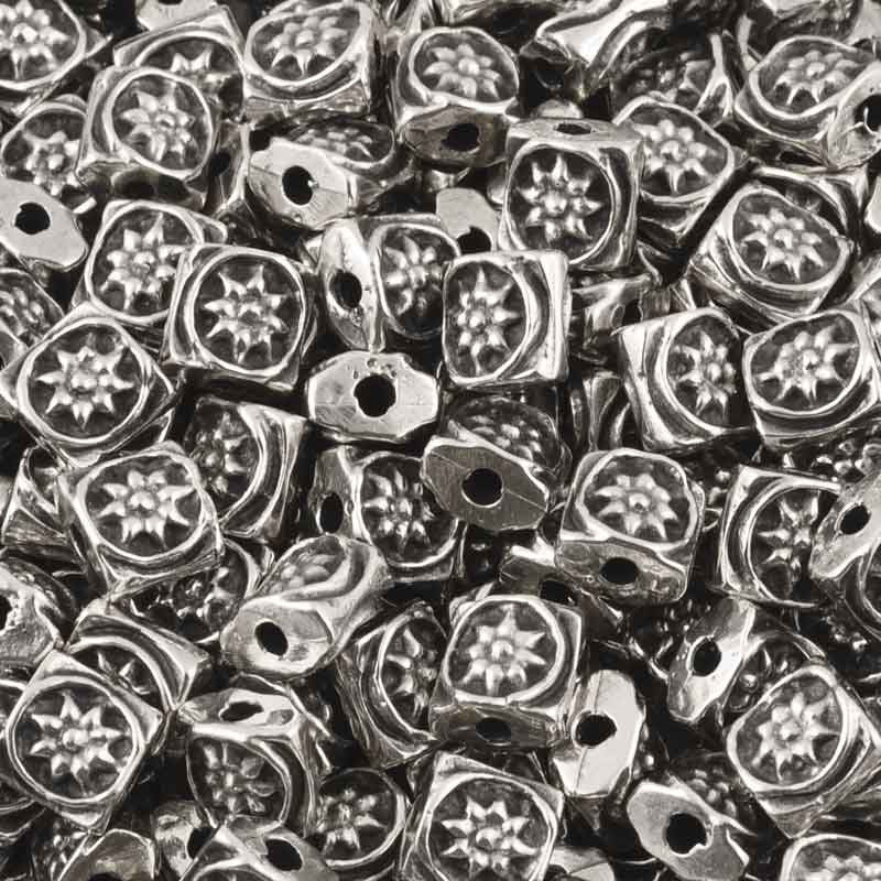 Casting-6mm Flat Square Ornament Beads-Antique Silver
